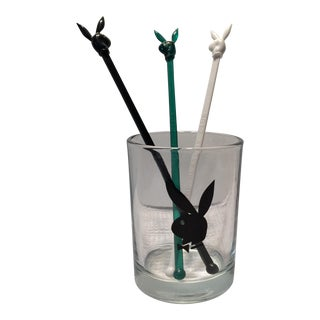 Vintage Playboy Club Low Ball Glass & Swizzle Sticks- Set of 4