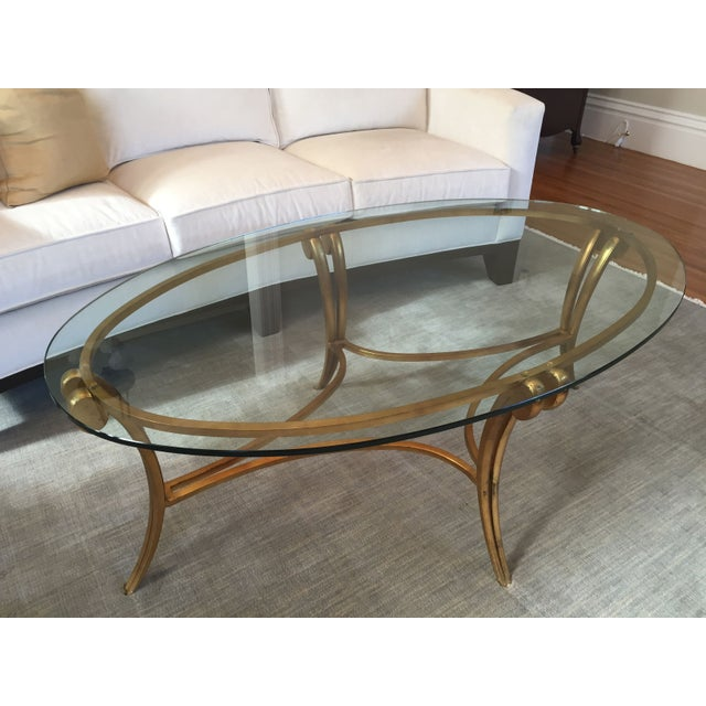 Barbara barry glass metal coffee table chairish Barbara barry coffee table