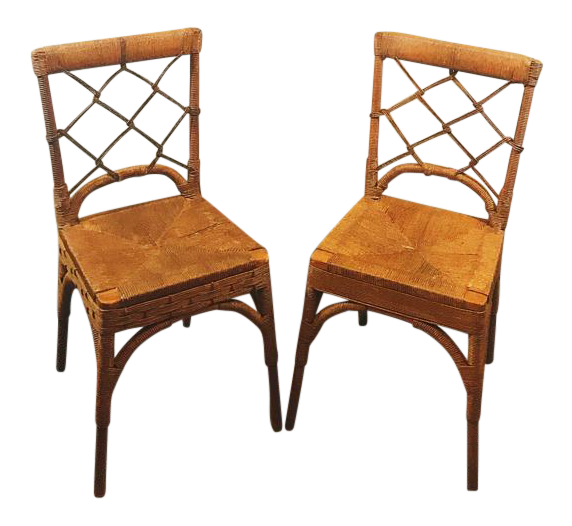 Vintage Rattan Chinese Chippendale Chairs   A Pair