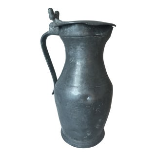 Antique Pewter Lidded Water Pitcher