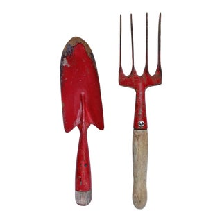 Vintage Red Garden Trowel and Hand Rake - 2