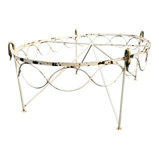 Eclectic Brass and Iron Swan Head Coffee Table or Footstool Base