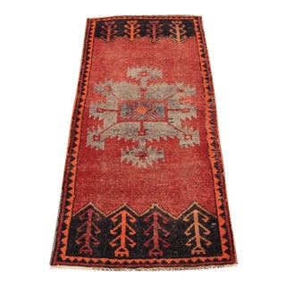 1'8 X 3'7 Mid-20th C. Vintage Antique Tribal Oushak Hand Knotted Turkish Rug