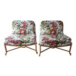 Floral Chairs with Iron Bases - A Pair