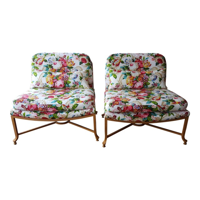 Image of Floral Chairs with Iron Bases - A Pair