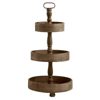 Wooden Three Tiered Round Tray Stand