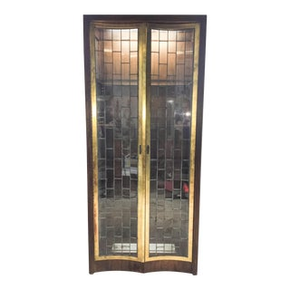 Heritage Mid-Century Modern Brass & Lead Glass Cabinet
