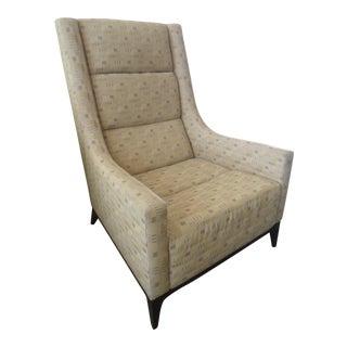 Custom Upholstered Modern Armchair, Yellow/Gray Fabric