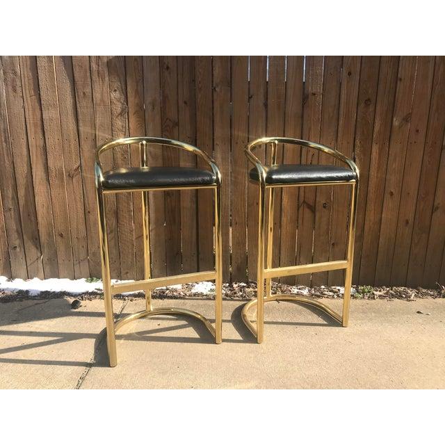 Milo Baughman Style Brass Bar Stools - A Pair - Image 7 of 7