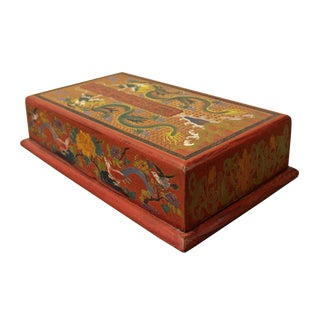 Chinese Golden Orange Yellow Dragon Graphic Box