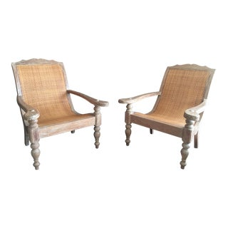 Wood & Rattan Plantation Lounge Chairs- A Pair