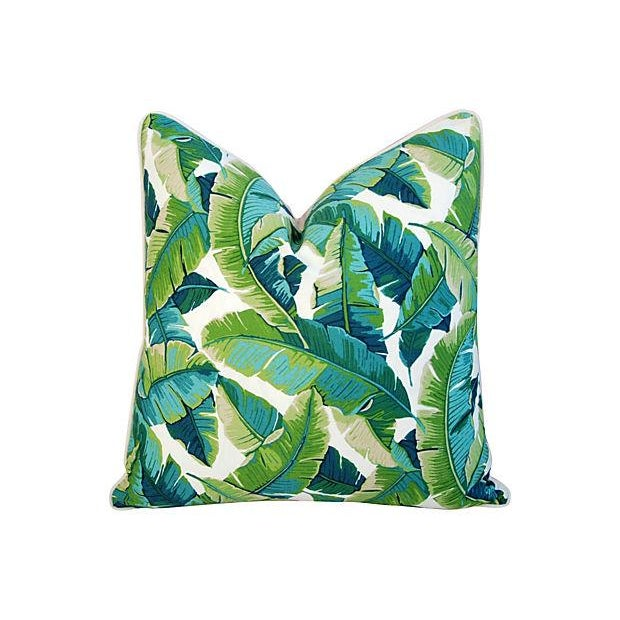 "24"" Square Custom Tailored Tropical Banana Leaf Feather/Down Pillows - Pair - Image 3 of 7"