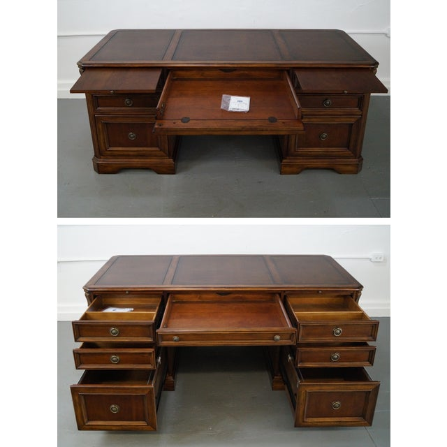 Hooker Leather Top Executive Desk - Image 5 of 10