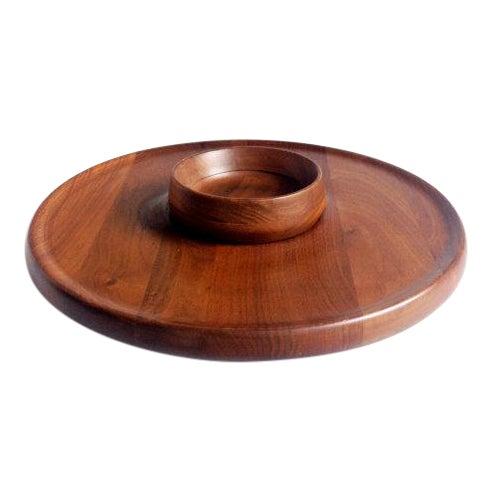 Mid-Century Walnut Lazy Susan Dip Tray - Image 1 of 6