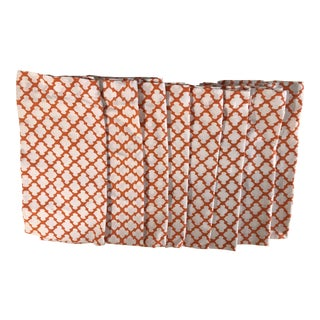 Pottery Barn Orange and White Napkins - Set of 8