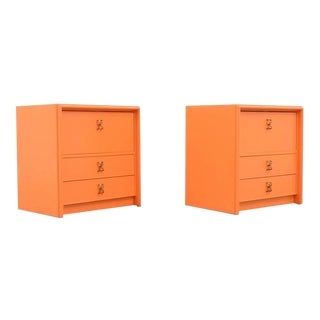 1950s American Paul Frankl Nightstands 'Orange Lacquer and Brass Hardware' - A Pair