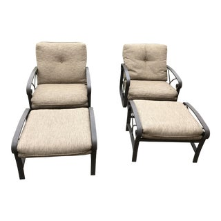 Winston Outdoor Lounge Rocker Chairs & Ottomans - A Pair