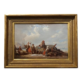 Auguste De Lacroix -Fisher Family by the Sea Original 19th century French Oil Painting -1856