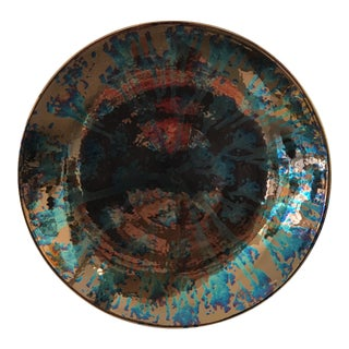 Artist Blue and Bronze Abstract Decorative Platter