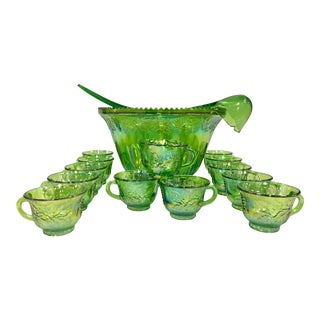 Indiana Glass Mid-Century Green Cut Punch Bowl - Set of 17