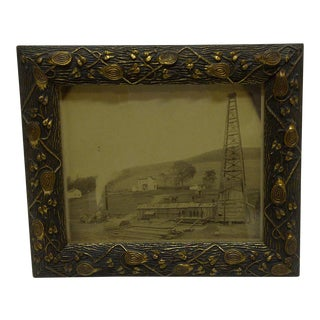 "Vintage Framed Black & White Photograph ""Old Oil Rig"", 1880"