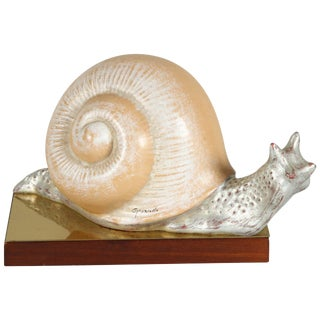 Hand-Painted Italian, 1970s, Snail Sculpture