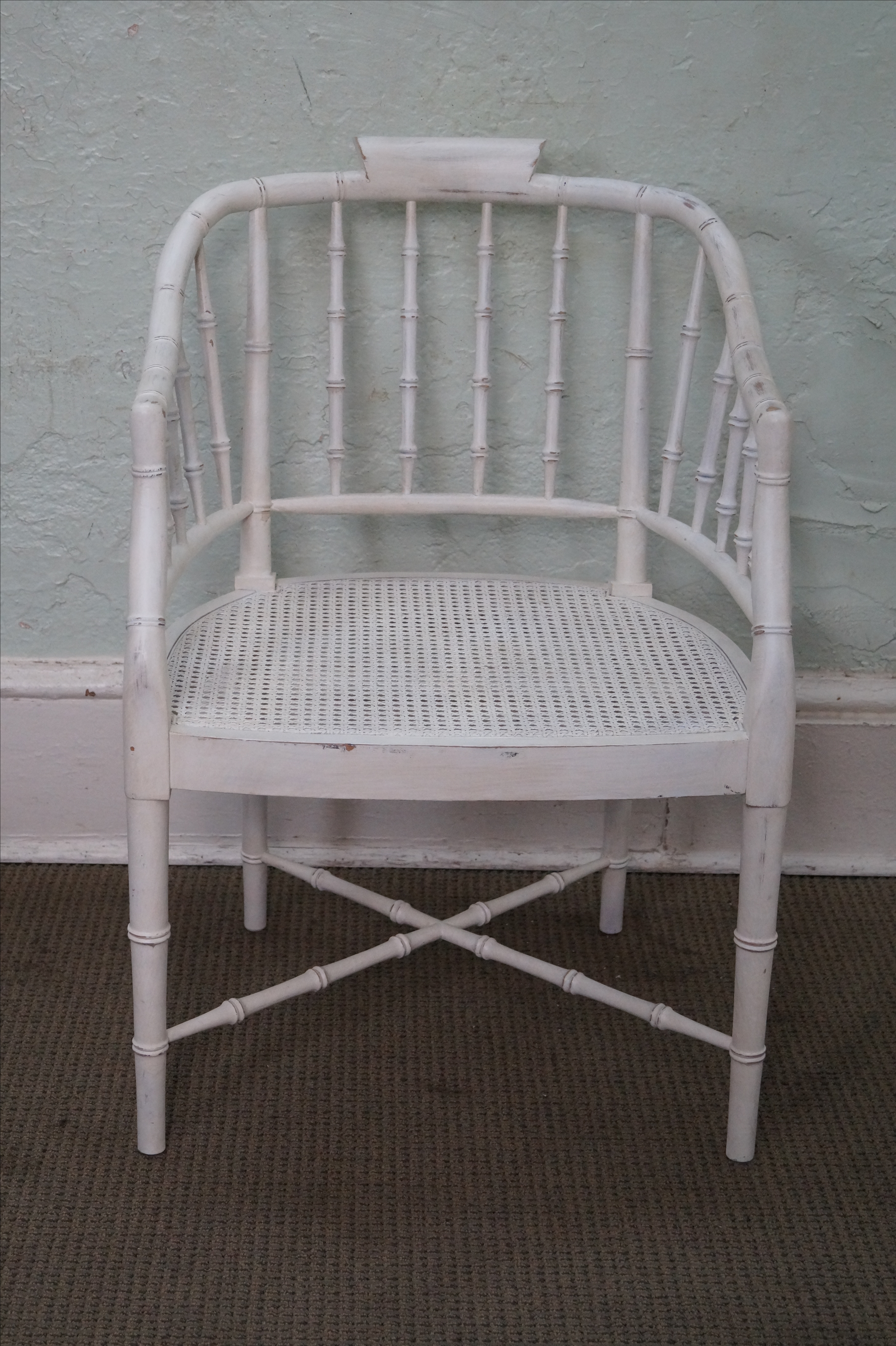 Century White Faux Bamboo Barrel Back Arm Chair   Image 2 Of 10