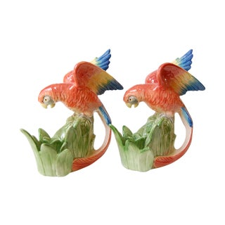 Vintage Fitz and Floyd Parrot Candleholders - Pair