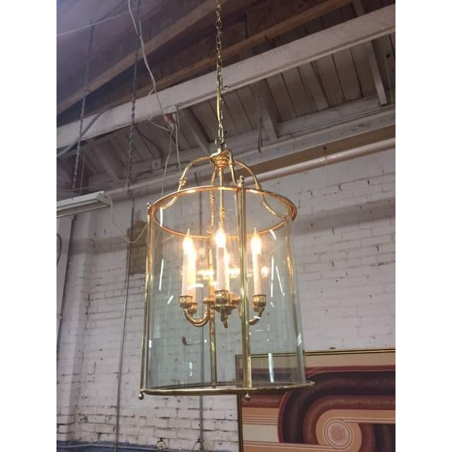 Hollywood Regency Glass Brass Hanging Light - Image 2 of 5