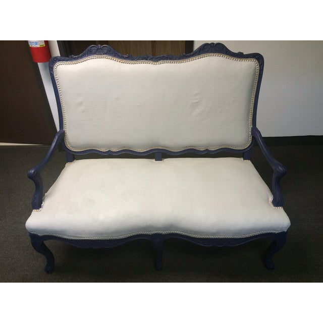 1800's Blue Distressed/Chalk Paint Settee - Image 3 of 6