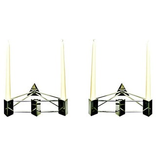 Modern Stainless Steel Sconces - Pair