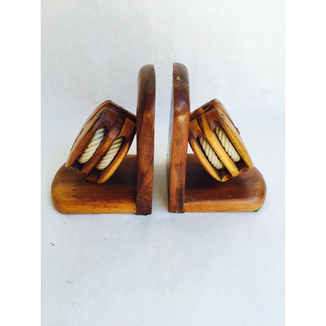 Mid-Century Wood Pulley Bookends - Pair - Image 2 of 7