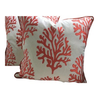 Lilly Pulitzer for Lee Jofa Pillows in Coral Seafan Linen - a Pair