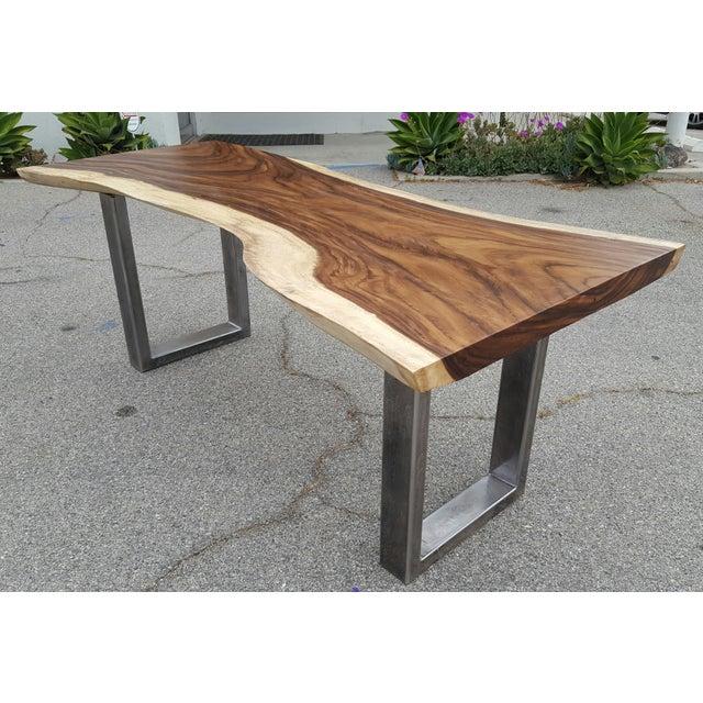 Solid Slab Acacia Live Edge Wood Table - Image 2 of 9