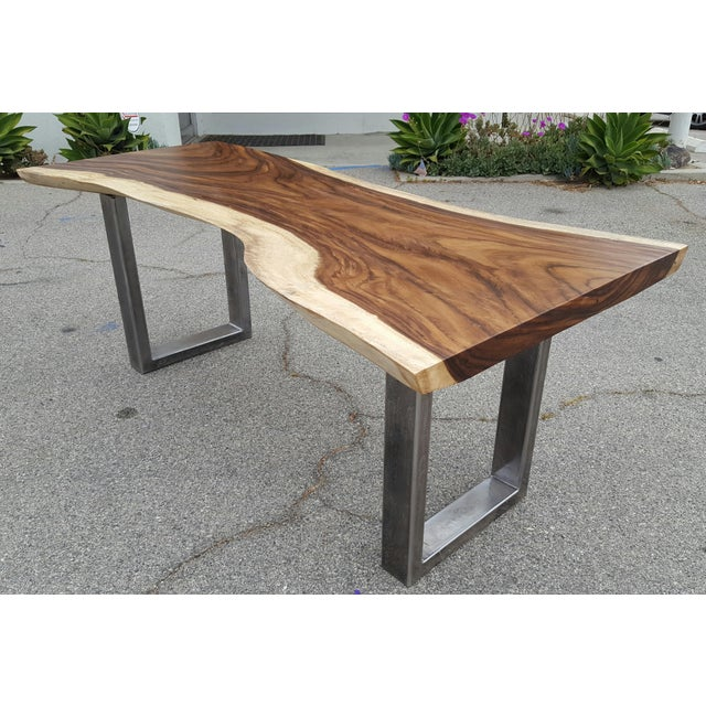 Image of Solid Slab Acacia Live Edge Wood Table