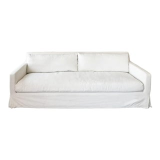 Restoration Hardware Sofa (Belgian Track Arm Slipcovered 7' in White Perennials Fabric!)