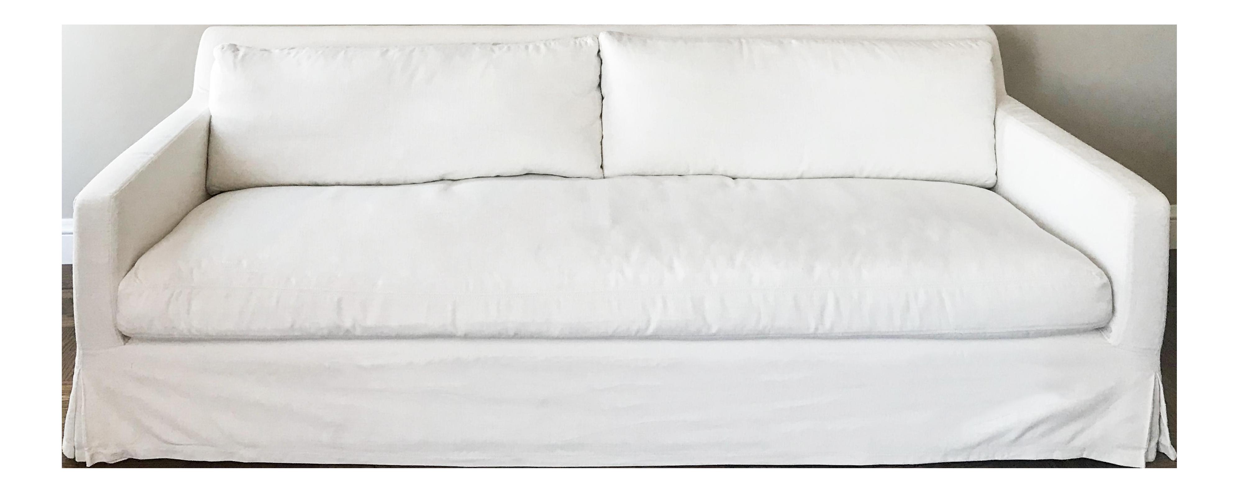 Restoration Hardware Sofa (Belgian Track Arm Slipcovered 7u0027 In White  Perennials Fabric!)