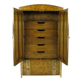 Mastercraft Burled Wood & Brass Tall Cabinet