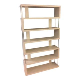 Modern Wood & Chromed Steel Bookcase