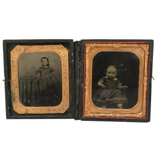 Daguerrotype Folding Copper Framed Photos - A Pair