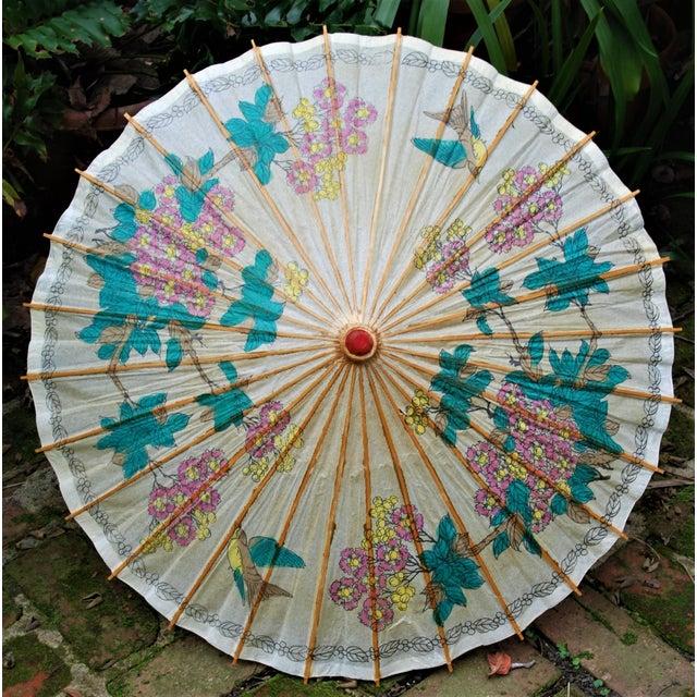 Vintage Asian Rice Paper Floral Umbrella - Image 3 of 10
