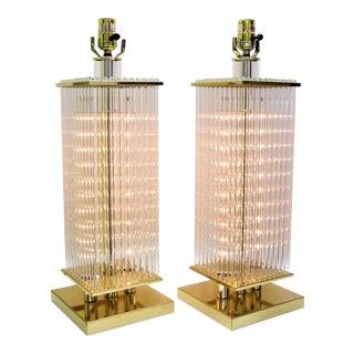 Pair of Sciolari Italian Murano Style Vintage Glass Rod Designer Table Lamps - Mid Century Modern MCM