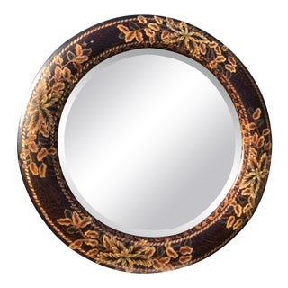 Brown Crackle Painted Finish Wall Mirror