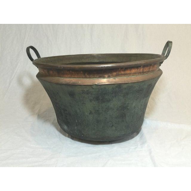 Image of Large Vintage Copper Cauldron