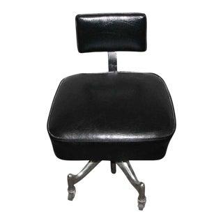 Vintage Vinyl Leather Chair on Metal Rolling Legs