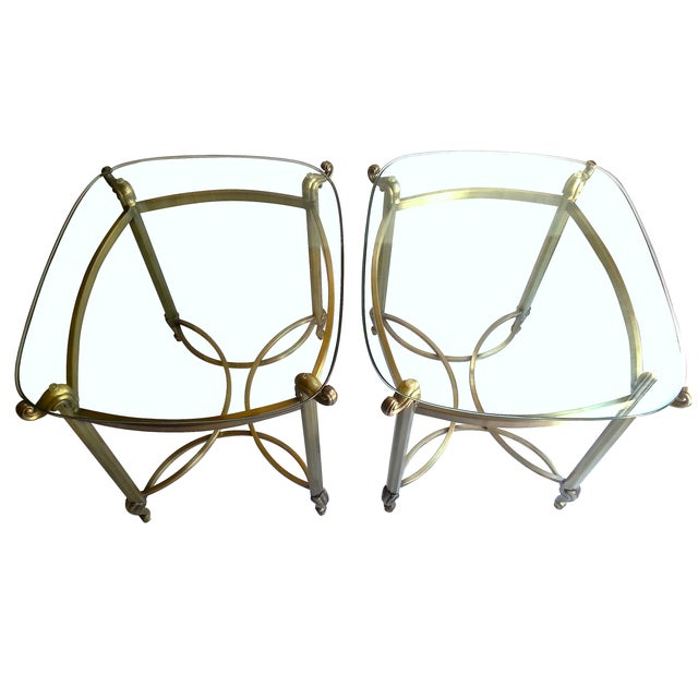 Brass Beveled Glass Side Tables- A Pair - Image 1 of 4