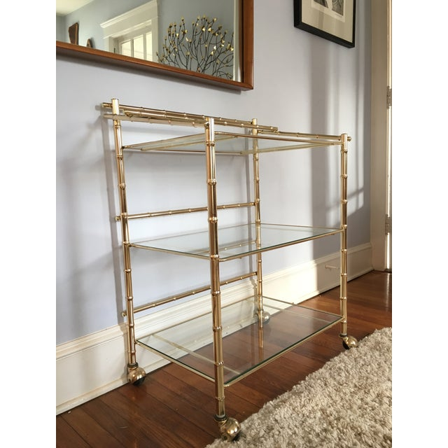 Hollywood Regency Faux Bamboo Brass Bar Cart - Image 4 of 5