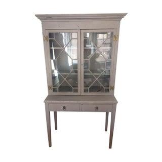 Vintage Grey Diamond Glass Door Hutch