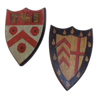 English Wooden College Plaques - A Pair