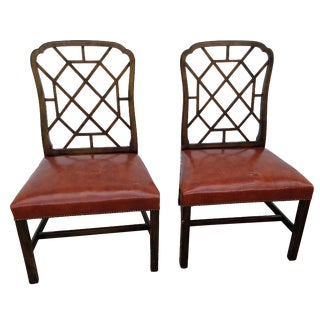 Vintage Baker Furniture Leather Chairs - A Pair